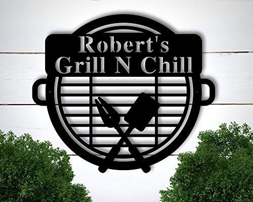 Yohoba Personalisiertes Grill-Schild, Grill-Geschenke, Schilder, personalisierbar, Outdoor-Küchen-Metallschild, Grill-Geschenke für Väter, personalisiertes Metallschild für den Außenbereich