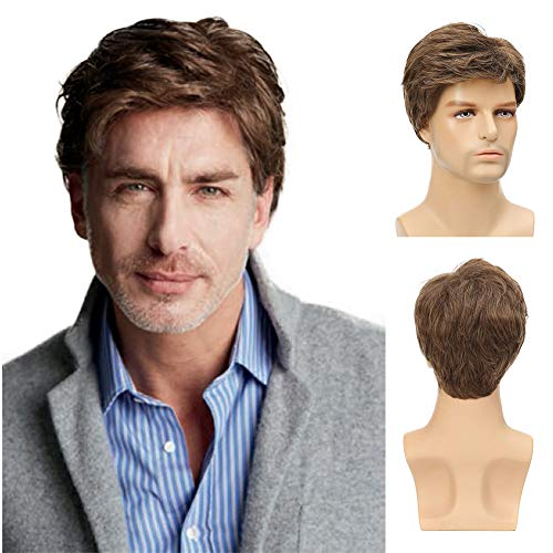 Kaneles Mens Short Brown Wig Synthetic Replacement Costume Halloween Natural Hair Wigs