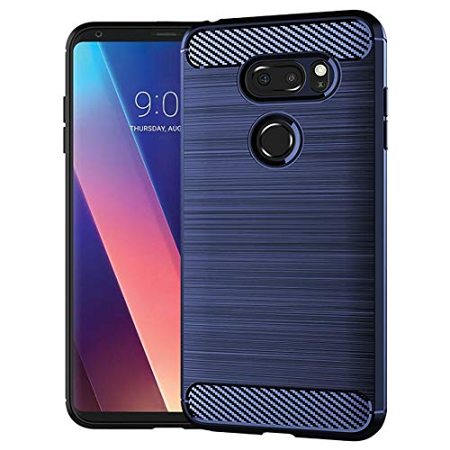 LG V30/LG V30 Plus/LG V30S ThinQ/LG V35/LG V35 ThinQ Case,Slim Thin Silicone Soft Skin Flexible TPU Gel Rubber Anti-Scratch Shockproof Carbon Fiber Pattern Protective Case Cover for LG V30,Blue