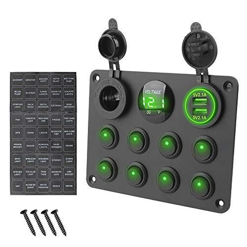 N\A Interruptores para Coches para la Barca de automóviles RV camión ATV UTV Caravan Caravan Toggle Switch Switch Breaker 12-24V 8 Cigarrillo de pandillas Zócalo Encendedor Dual USB (Color : A Green)