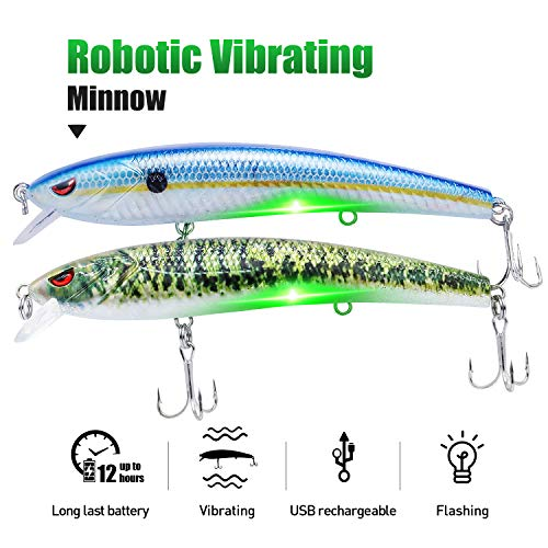 "TRUSCEND Fishing Lures Fishing Light Attractant 4.9"" Rechargeable LED Minnow Long Casting Slow Sinking Flashing Vibrating Twitching Lures Freshwater Saltwater (2PCS BlueShad-Bass (Green Light))"