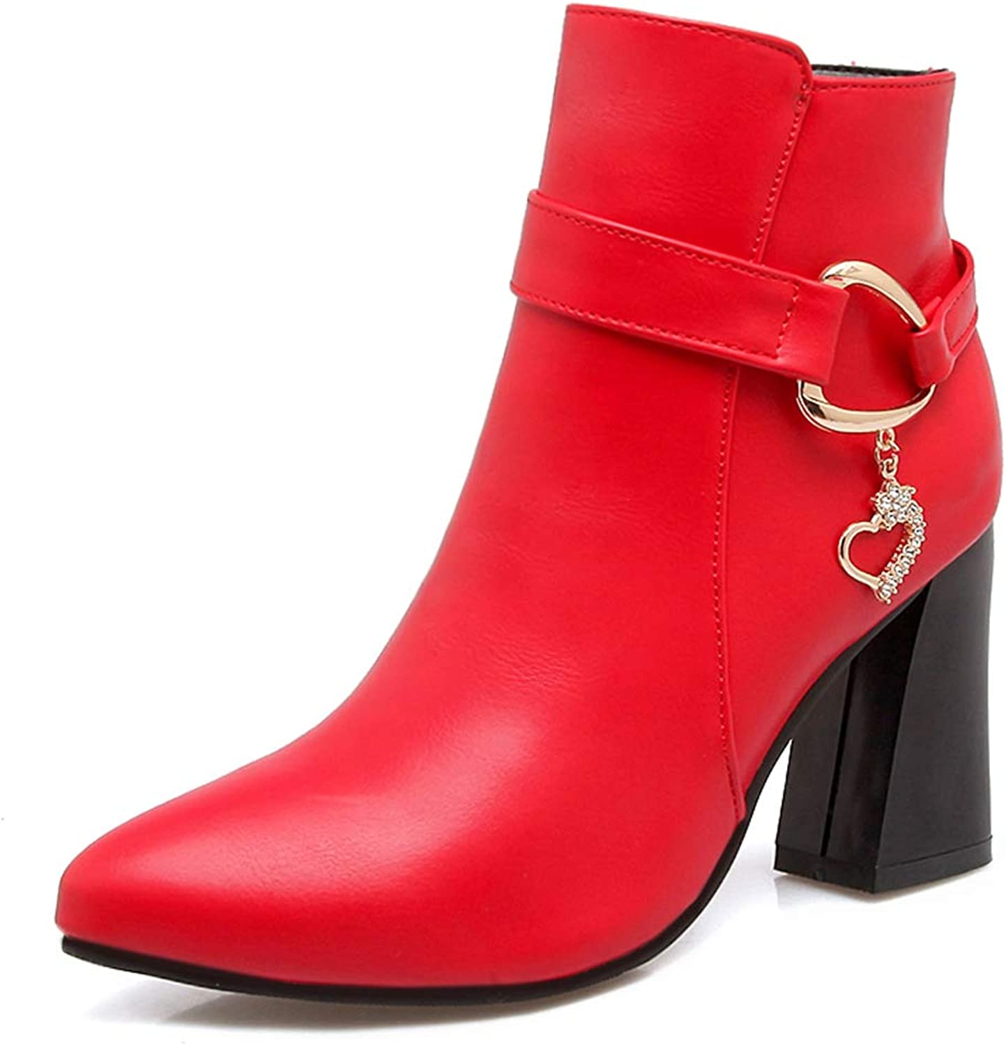Btrada Women Pointy Toe Ankle Boots Winter Sexy Square High Heels Short Booties Office Lady Zip Dress shoes