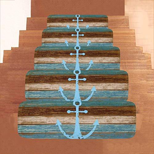 Marine-Anker-Stil Blaue Treppen Teppich/Durable rutschfest Stufenmatten - (28X9X2 IN) Indoor Outdoor Treppenstufen Matten (1PCS, 5PCS) (Size : 1 PCS)