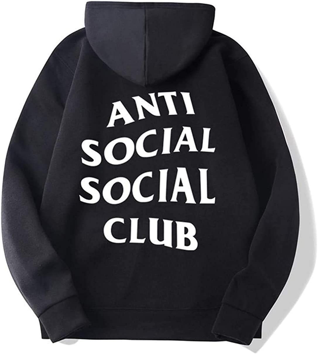 XINGENG Felpe con Cappuccio Pullover a Maniche Lunghe Anti Social Social Club