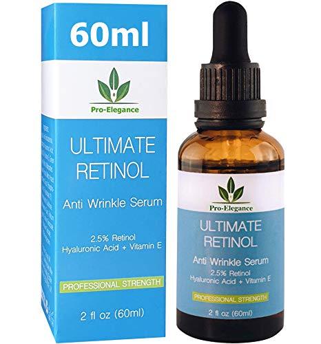 Retinol Serum 60ML-FLASCHE! Retinol Gesichts Serum 2,5% mit Hyaluronsäure & Vitamin E, Bestes Anti Aging Retinol Serum für Augenringe, Feuchtigkeitsspendendes Gesicht & Hals
