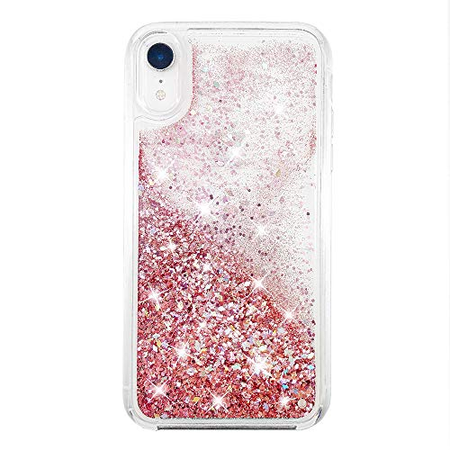 """uCOLOR Rose Pink Glitter Case Compatible for iPhone XR Luxury Bling Flowing Waterfall Liquid Sparkling Quicksand Clear Fashion Girls Women Protective Case Compatible for iPhone XR/10R(6.1"""")"""