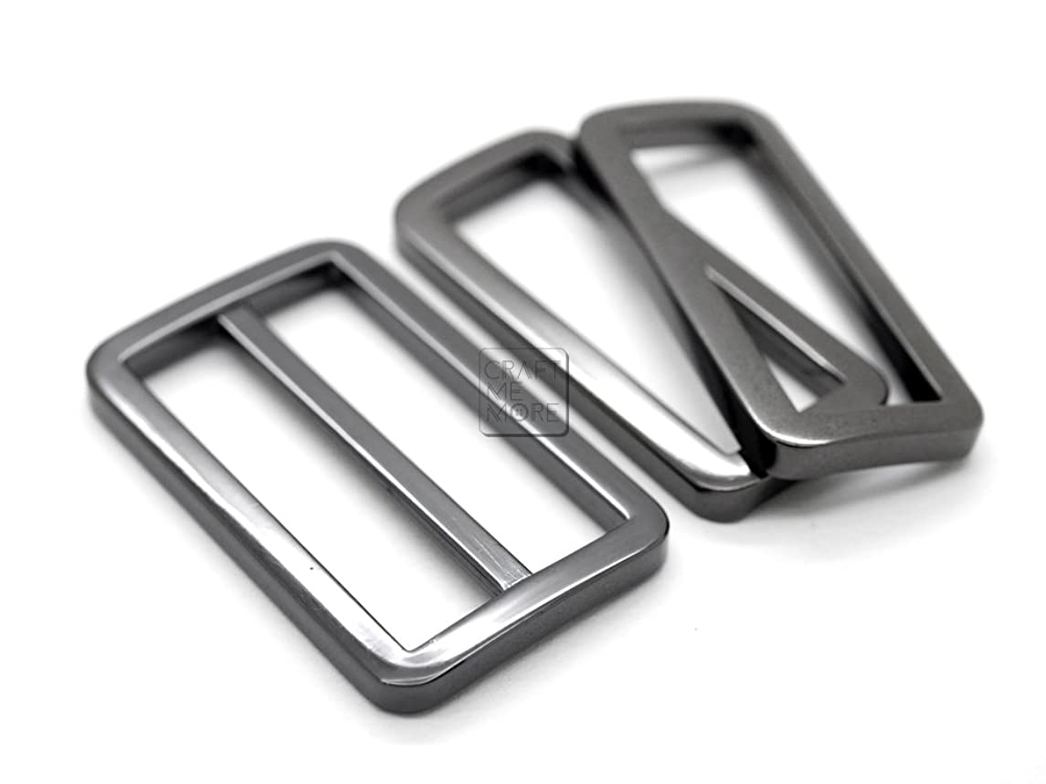 CRAFTMEmore 1SET Gunmetal Black FLAT Purse Slider and Loops 1PC Slide Buckle with 2PCS Rectangular Rings Leather Craft (1 1/2 Inches)