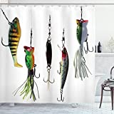 Ambesonne Fishing Shower Curtain, Various Type of Fishing Baits Hobby Leisure Passtime Sports Hooks Catch Elements, Cloth Fabric Bathroom Decor Set with Hooks, 75' Long, White