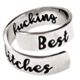 Jude Jewelers Stainless Steel Inspirational Mantra Statement Graduation Cocktail Party Ring (Best Fucking Bitches)