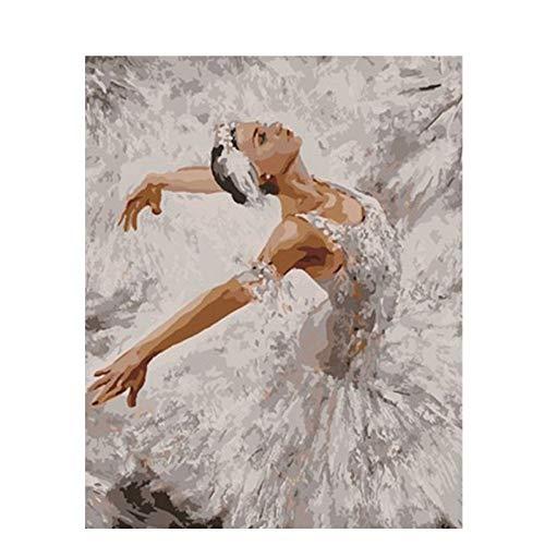 GKOO Pintura por Número De Kit,DIY Pintura Al Óleo para Adultos Niños Bailarina De Ballet Mujer Elegante Patrón De Diseño De Arte Moderno Cuadros De Pared Simple Ilustración Decorativa Casa Salón