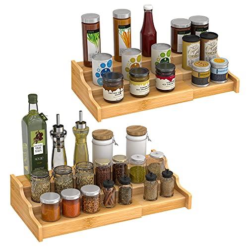 Organizador de especias de bambú expandible de 3 niveles para gabinete, despensa, cocina, pasillo de cocina, paquete de 2