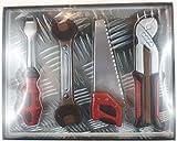 04#120520 Schokolade, Werkzeug, Set, 4 Tlg. Säge, Kombizange, Schraubenzieher, Maulschlüssel
