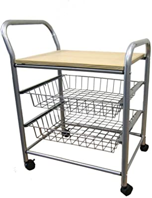 Benjara Casters Supported Wooden Top Metal Frame Trolley, Brown and Gray