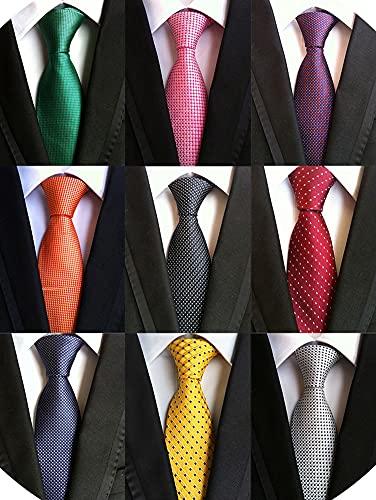Adulove Men's Necktie Classic Silk Tie Woven Jacquard Neck Ties 9 PCS