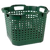 Kingpower Korb Kunststoff Lebensmittelecht Garten Groß mit Henkel Holzkorb Aufbewahrung Körbe Obstkorb Wäschekorb 25L Pflanzkorb stapelbar Grün Gemüse Körbchen