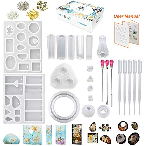 LET'S RESIN Jewelry Resin Molds Kit,16Pcs Silicone Jewelry Molds for Resin Casting,Resin Jewelry Molds with Barcelet Molds,Pendant Molds,Ring Molds,Epoxy UV Resin Molds for Resin Jewelry,Resin Art