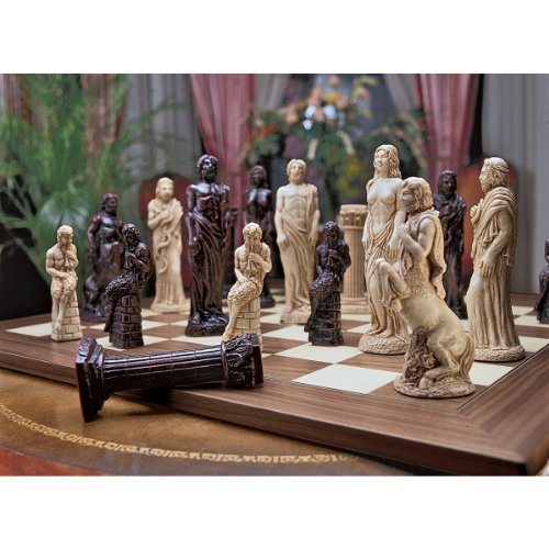 Design Toscano Gods of Greek Mythology Complete Chess Set, 6 Inch, 16 Pieces and Board, Two Tone Stone