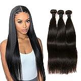 Daimer Straight Natural Weave 3 Paquets Tissage Cheveux Humains Brésilien en lot pas cher Naturel 14 16 18