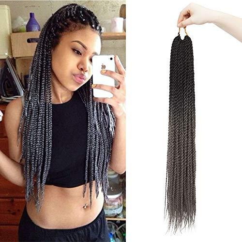 60cm Extensiones de Pelo Sintético Para Trenzas Africanas [#Negro-Gris oscuro ] Faux Locs Crochet Twist Se Ve Natural 1 PCS 30 Roots Braiding Hair 100g