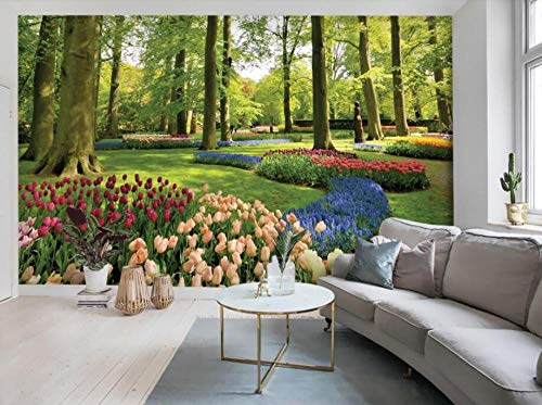 RTYUIHN 3D Wallpaper Bedroom Living Room Fashion Park Landscape Forest Flower Tulip Wallpaper Home Decoration Modern Wall Art Decoration