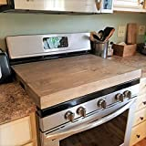 Thick Pine Cutout Handles Gas Stove Farmhouse Kitchen Stove Top Cover Noodle Board Rustic Tray Wooden Range Cover Burner Cover