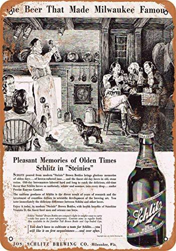 RTOUTS Schlitz Bier in Steinies Metall Retro Blechschild Antik Plakette Poster Wohnzimmer Bar Pub Home Classic Vintage Aluminium für Wanddekoration 20,3 x 30,5 cm