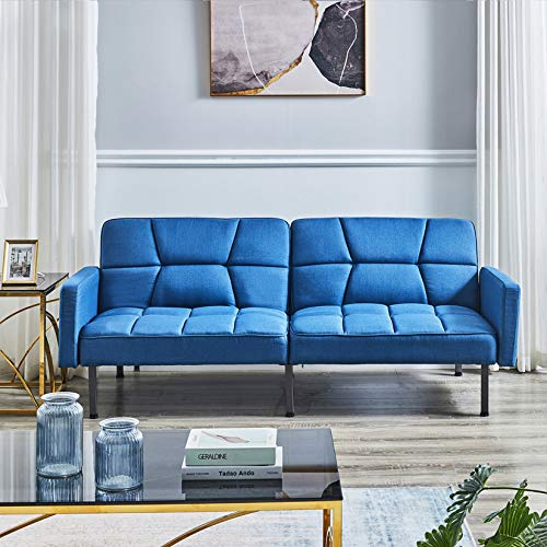 Huaishu Elegante sofá de tela de 2 plazas, sofá de diseño moderno, sofá cama, sofá cama doble para sala de estar, sala de invitados, sala de estar, oficina, fácil de poner juntos, azul marino