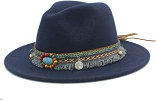 SHENTIANWEI Men Women Winter Wool Fedora Hat with Tassel Ribbon Panama Jazz Hat Wide Brim Hat Fascinator Size 56-58CM