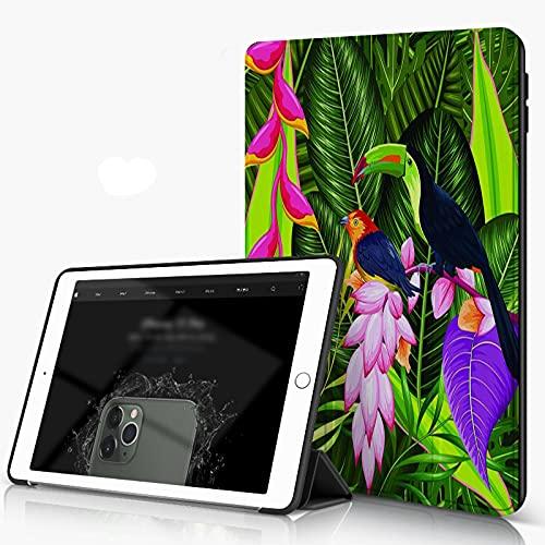 She Charm Carcasa para iPad 10.2 Inch, iPad Air 7.ª Generación,Fondo Tropical exótico con Flores de Colores y tucán,Incluye Soporte magnético y Funda para Dormir/Despertar