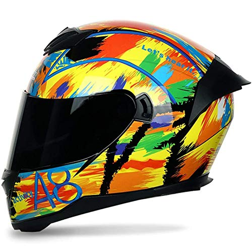 ZLYJ Casco de Protección para Moto de Carreras con Visera Solar Casco de Moto de Calle Integral para Motocicleta,Ciclomotor Doble Deporte Urbano,ECE Homologado B,XL