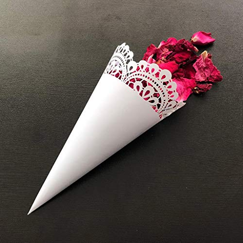 MALLdor 50pcs Cut Lace Laying Petal Candy Wedding Party Favors Confetti Cones Paper Cone Decoration Supplies Gifts