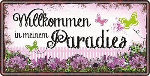 AV Andrea Verlag Großes Metallschild rostfrei Blechschild Schild mit lustigem Spruch im Vintage Retro Look (Willkommen in Meinem Paradies 33517)