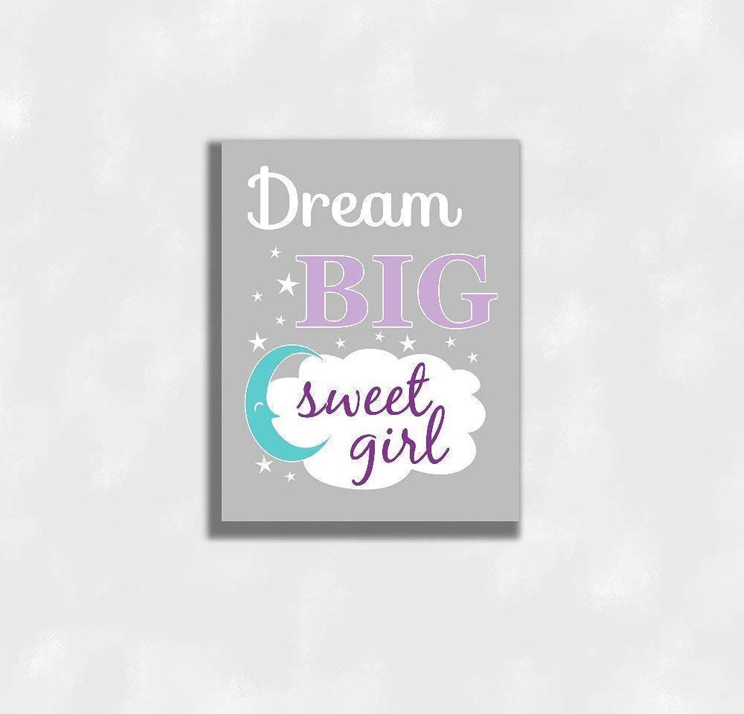 Girls Nursery Decor CANVAS Wall Art - Dream Big Sweet Girl, Purple, Teal Moon, Single Print