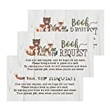 25 Woodland Books for Baby Request Insert Card for Boy or Girl Animals Baby Shower Invitations or invites, Cute Bring A Book Instead of A Card Theme for Gender Reveal Party Story, Business Card Sized