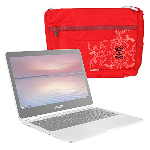 DURAGADGET Bolso Rojo con Print Floral para Portátil ASUS Chromebook Flip C302CA, Pro B9440, ZenBook Flip UX360UA, ZenBook 3 Deluxe (UX490UA) - con Múltiples Bolsillos Y Asa De Hombro Ajustable