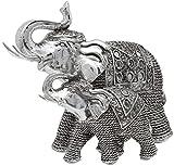 Maturi Elefante y Becerro Plateado con Troncos elevados, 19 cm de Altura.