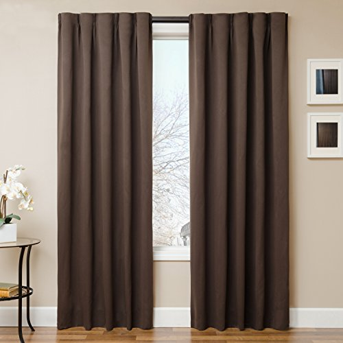 """The Simple Drape, Set of 2 Easy To Hang Total Black Out Window Curtain / Panel Blackout Curtains Measuring 42""""W x 84""""H With Adjustable Drapery Rod, Dual Adhesive Backing and Hanging Sliders, Chocolate"""