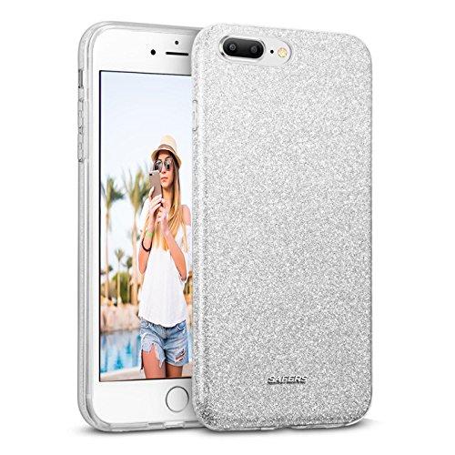 Preisvergleich Produktbild Conie STPU1968 Shiny TPU Kompatibel mit iPhone 7 / 8 Plus,  Glitzer Hülle Silikon Dünn Designer Schutzhülle für iPhone 7 Plus iPhone 8 Plus Case Glitter Silber