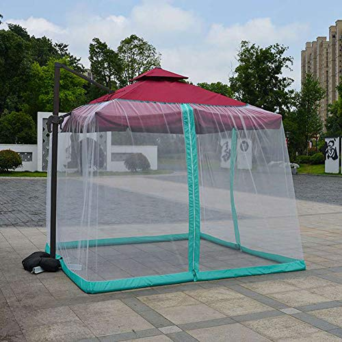 DDT Outdoor Garden Umbrella Table Screen Parasol Mosquito Net - Polyester Mesh Screen Fits 10-11FT Umbrellas and Patio Tables 335 × 230Cm