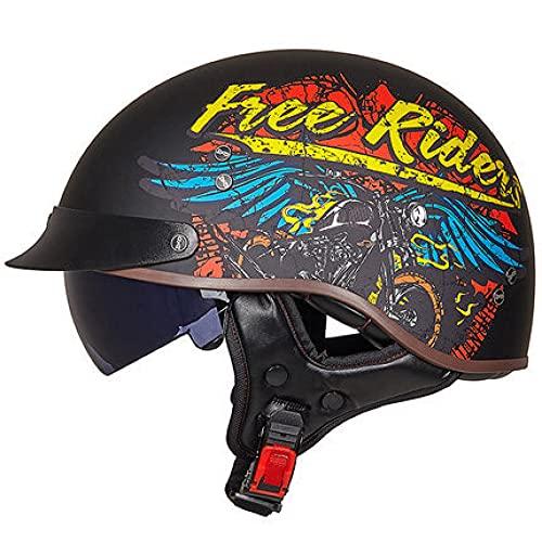 Casco de moto retro alemán DOT/ECE estándar gorra de béisbol casco pequeño adulto hombres y mujeres ATV Cruiser casco redondo con visera de liberación rápida con forro suave, XL
