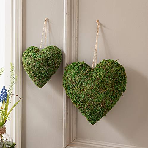 2 Deko-Herzen aus Moos, Ø 15 + 20 cm, Hängedeko, Hochzeitsdeko, Ringkissen