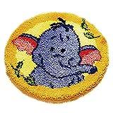Pzpgeq Cojín de Bricolaje Alfombra Alfombrilla de Piso Kit de Gancho de Cierre de Alfombra sofá Funda de Asiento Hecho a Mano Dibujos Animados Redondo Crochet Regalo de bebé para niños 48.26x48.26cm