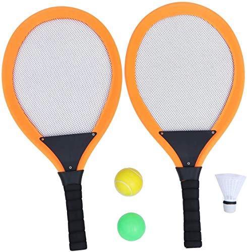 RENFEIYUAN 2 stücke Tennis Badminton Schläger Set Kinder, die Badminton Runde Schläger spülen Requisiten für Kindergarten Outdoor Sports (Orange) Badminton Sets