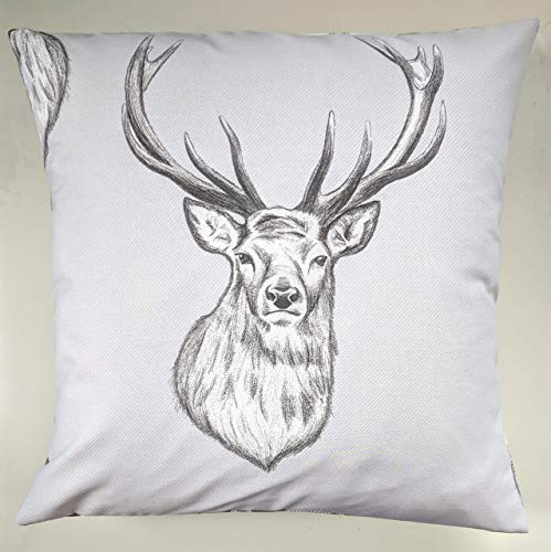 Cushion Cover in Grey Stag and Tartan 16'