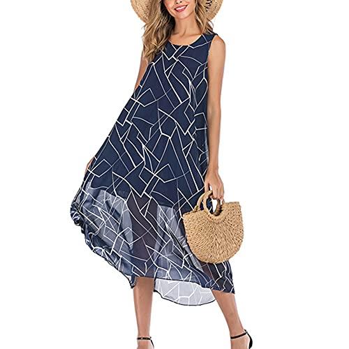 Lente en zomer dames casual mode ronde hals chiffon bloemenprint losse halflange vest jurk dames, M5, XL