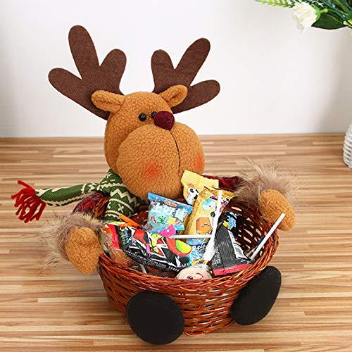 bamb/ú Shengong 18 X 18cm Alce Cesta de almacenamiento para dulces de Navidad