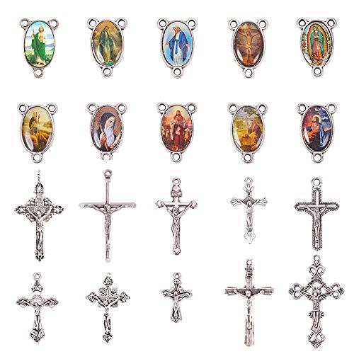 PandaHall Elite 10 Sets (20 Stück) Rosenkranz Kreuz und Center Wunderbare Medaille mit Kruzifix Kreuz Anhänger und Oval Bild Links für Rosenkranz Halskette,