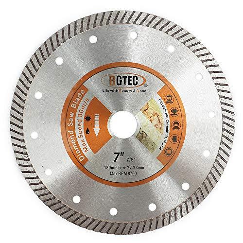 BGTEC Hoja de turbo de diamante superfino prensado en caliente de 180 mm para baldosas de cerámica, piedra de granito