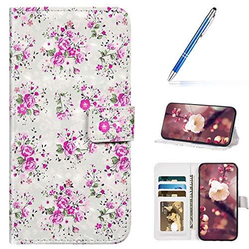 URFEDA Kompatibel mit iPhone 5S/SE Handyhülle Handytasche 3D Bunt Bling Glitzer Glänzend Muster Leder Hülle Klapphülle Brieftasche Schutzhülle Bookstyle Tasche Case Flip Cover,Rose