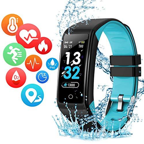 LTLJX Fitness Armband Uhr, Voller Touch Screen Intelligente Uhr IP67 Wasserdicht Tracker Sportuhr mit Schrittzähler Pulsuhren, Damen Herren Smart Watch für iOS Android,Blau